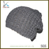 Beanies lavorati a maglia grigi dello Slouch delle donne del cappello di modo su ordinazione
