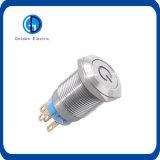 Anillo del LED iluminado trabando el interruptor de pulsador del metal del Anti-Vándalo del pulsador