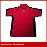 T-shirts noirs rouges de polo de sport de qualité faite sur commande d'impression pour les hommes (P100)