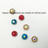 2017 o ajuste da garra da flor do cristal da qualidade nova e superior 9mm Sew na faixa de Strass (o cristal redondo do ab do azul de céu de TP-9mm)