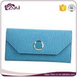 لون زرقاء طويل [بو] جلد إمرأة محفظة