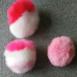 모자를 가진 모자에 다채로운 너구리 모피 또는 Fox 모피 또는 토끼 모피 공