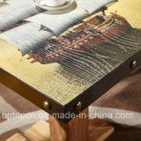 Restaurante Conjunto de muebles de madera con hermosas impresa en la mesa y silla (SP-CT785)