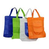 Customzedはショッピングのための非編まれたポリエステルFoldable大きい記憶の食料雑貨入れの袋をリサイクルした