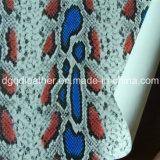 뱀 지상 이중 면 PU 신발 가죽 (QDL-SP032)