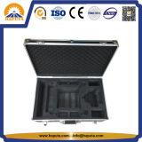 Valigia di alluminio di immagazzinamento in la cassetta portautensili di professione del contenitore nero di Uav con gomma piuma su ordinazione (HT-3028)