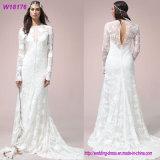 Сексуальная белизна a - линия платье венчания 2017 длинней втулки белое