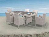 Plataforma telescópica de la tabla de ratán con silla