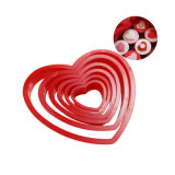 Los conjuntos de 6 piezas de la Cookie de forma de corazón molde hornear Herramienta para girar el molde de tarta de azúcar