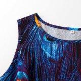 2017新しいデザイナー一つ党女性のマキシの花のミディの服の孔雀の印刷