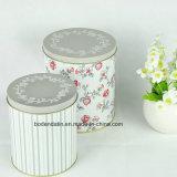 Caja de lata redonda de metal con personalizada impresión de CMYK, dos caja de la lata Un conjunto de caja de la lata
