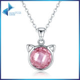 Animal Jewelry를 가진 Women를 위한 925 영화 Silver Pink Zircon Cute Cat Pendant Necklaces