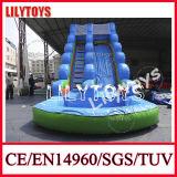 La manera se divierte los 8X5m que inflables grandes mojan la diapositiva para los cabritos -- PVC azul/del verde 0.55m m
