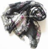 Encre de Chine et de laver l'impression Polyester Lady foulard (HWBPS104)