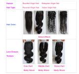 Fechamento Curly Kinky Lbh 199 do laço da peça média do cabelo humano do Virgin