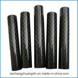 tubo hueco de la fibra del carbón 3k vidrioso