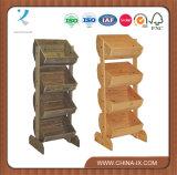 Plancher en bois debout rustique avec affichage de la caisse de 4 bacs