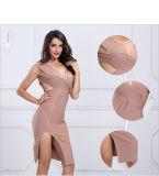 Stutzen-Kleid des Dame-Partei-Kleid Bodycon Kleid-Sleeveless Kleid-V