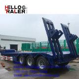 Helloo 60 тонн тяжелого Tri-Axle прицепа на изогнутой стойке низкая кровать прицепа