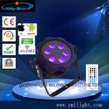 La luz del proyector LED de alta calidad 4 PC inalámbrica Rgbwauv batería resistente al agua luz LED PAR