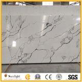 Fabrik-direkter Verkauf künstliche Calacatta weiße schwarze Quarz-Stein-Platte
