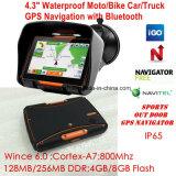 4.3inch IP65はBluetoothのFMの送信機、GPSの操縦士のスポーツの処置のMotoのバイク車手持ち型GPSの運行を防水する