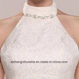 Camiseta sin mangas de color blanco cabestro Bridesmaid Ankle-Length niñas vestidos de novia