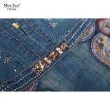 Miss Выа Ailinna 102016-2 помыл джинсовую ткань с сетчатой напечатанным тканью длинним раздатчиком платья