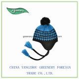 Sombrero normal azul y negro promocional del invierno de Earflap