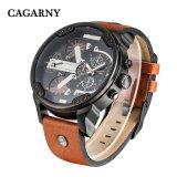 Caisse noire de Cagarny 6820 avec la courroie en cuir Brown et mouvement noir de quartz de courroie