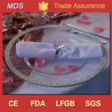 New Wedding Diamond Mirror Glass Charger Plate