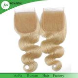 Des Karosserien-Wellen-brasilianisches Menschenhaar-613 blondes Spitze-Schliessen Schliessen-der Stück-4X4