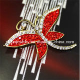 Ruby allanado bastante el tono de Oro de la mariposa de cristal rojo Rhinestone Brooch Broche de moda joyas bisutería Brooch Pbr-008