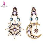 최신 판매 형식 우아한 다이아몬드에 의하여 장식용 목을 박는 합금 여자의 귀걸이 별과 달 모양 펜던트 보석