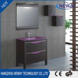 Einfacher Melamin-Badezimmer-Eitelkeits-Schrank mit Glasbassin