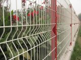 緑のプラスチックは機密保護によって溶接された金網の塀のパネルに塗った