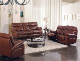 Canapé en cuir de couleur marron et demi