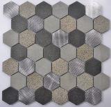 Mezcla de mármol del azulejo del hexágono con el mosaico del metal