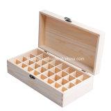 Caja de madera de madera de pino personalizada vendedora caliente para el almacenaje del vino