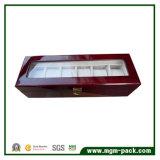 Reloj de pulsera de madera brillante caja con tapa de cristal