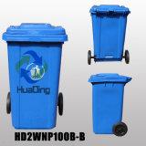 balde do lixo de borracha plástico da roda do escaninho de lixo 100L para Outdoort HD2wnp100b-B