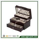Cadre de bijou en bois de noir de modèle simple avec le verrouillage