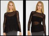 2017명의 여자의 섹시한 메시 t-셔츠는 폴리에스테 Elastane 또는 나일론 Elastane 메시 직물의 만든다