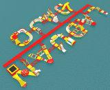 주문을 받아서 만들어진 색깔 수중 스포츠 게임 팽창식 스포츠 공원