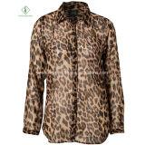 Grosser Größen-Form Leopard gedruckte All-Abgleichung Blusen-Dame Chiffon T-Shirts