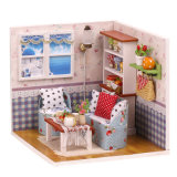 Mini Dollhouse educacional de madeira do brinquedo DIY