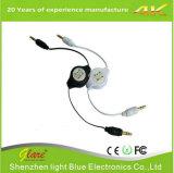 Auxiliar de 3,5 mm cable retráctil de auxiliar de audio estéreo de automóvil