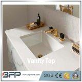 Белая мраморный конструкция верхних частей тщеты ванной комнаты/каменные верхние части ванной комнаты