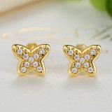 銀製の小柄い良い宝石類のための蝶スタッドEarrings14kの金によってめっきされるイヤリング