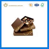 Rectángulo de empaquetado impreso insignia de encargo del chocolate del papel del regalo (con una tapa)